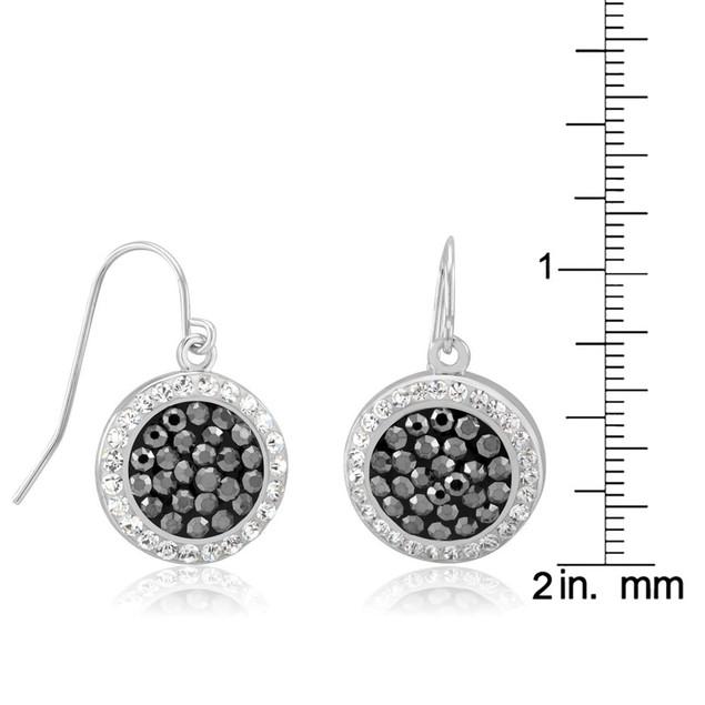 Black & White Crystal Circle Dangle Earrings