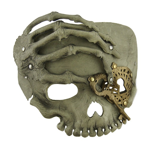 Beige Steampunk Pirate Skull W/Skeletal Hand Adult Mens Costume Masks
