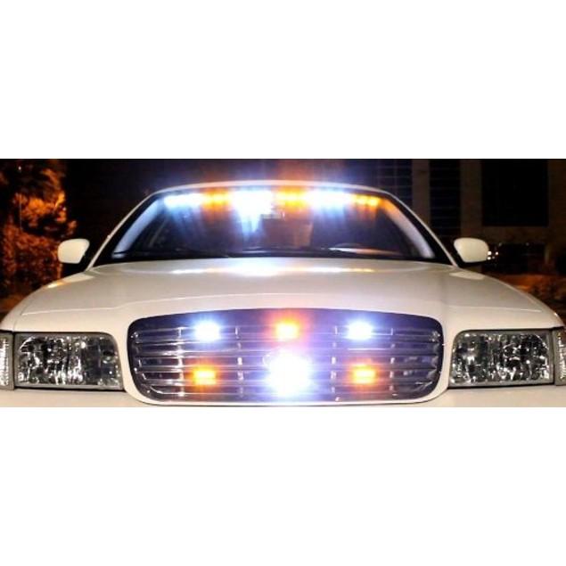 Zone Tech 36 LED Emergency Warning Strobe Light Amber/White Windshield