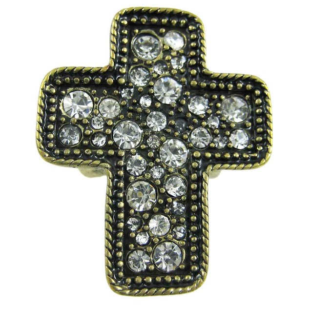 Rhinestone Accented Brass Christian Cross Stretch Womens Rings