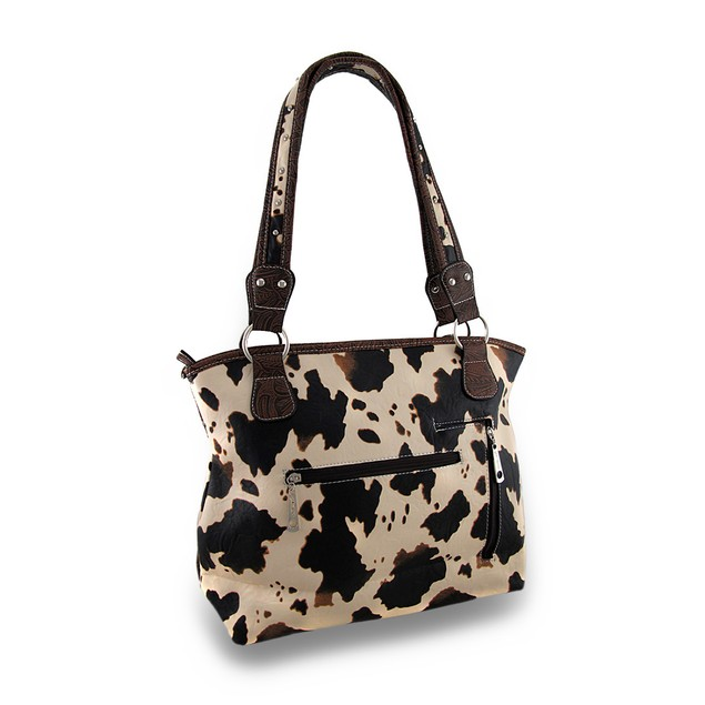 Brown Cow Print Rhinestone Skull Western Style Womens Shoulder Handbags