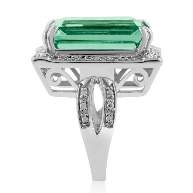 Green Amethyst and Diamond Ring