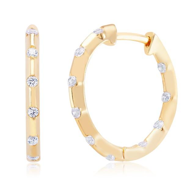 Gold Tone Sprinkled Crystal Hoop Earrings