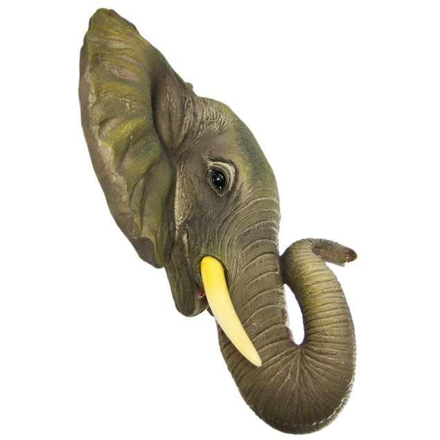 African Elephant Head Mount Wall Statue Mini Bust Wall Sculptures