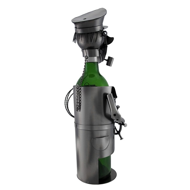 Sailing Captain At The Helm Metal Art Wine Bottle Wine Racks