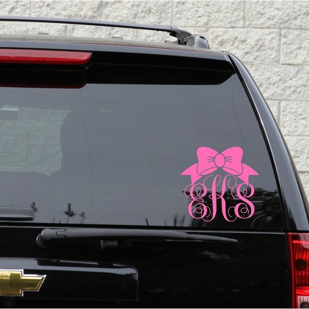 Bow Script Monogram Vinyl Decal