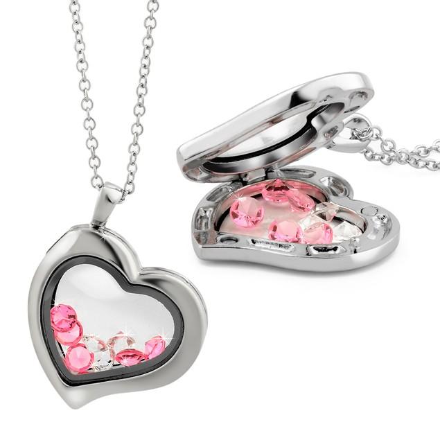 Floating Pink & White Crystal Locket Necklaces