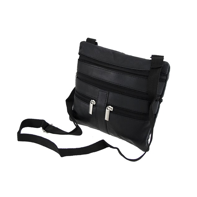Black Leather Cross-Body Travel Bag With Mens Cross Body Bags