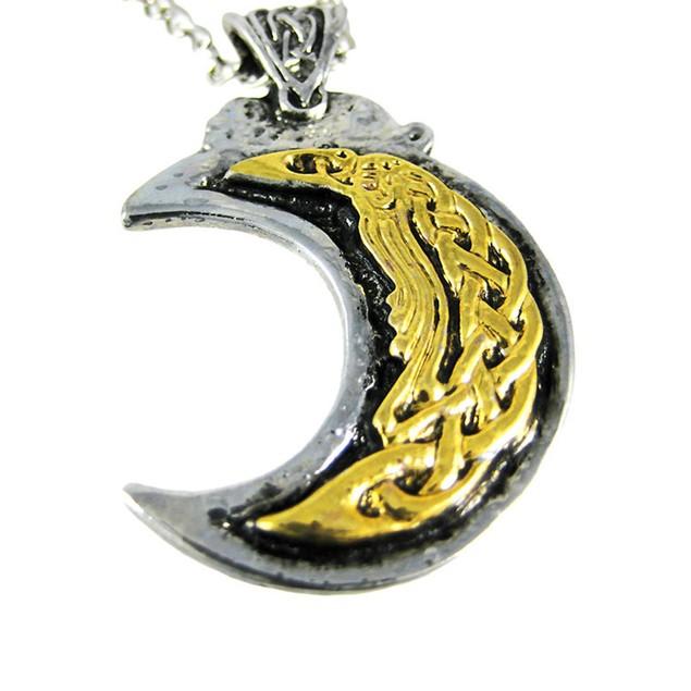 Two-Tone Nordic Moon Pendant / Necklace Norse Mens Pendant Necklaces