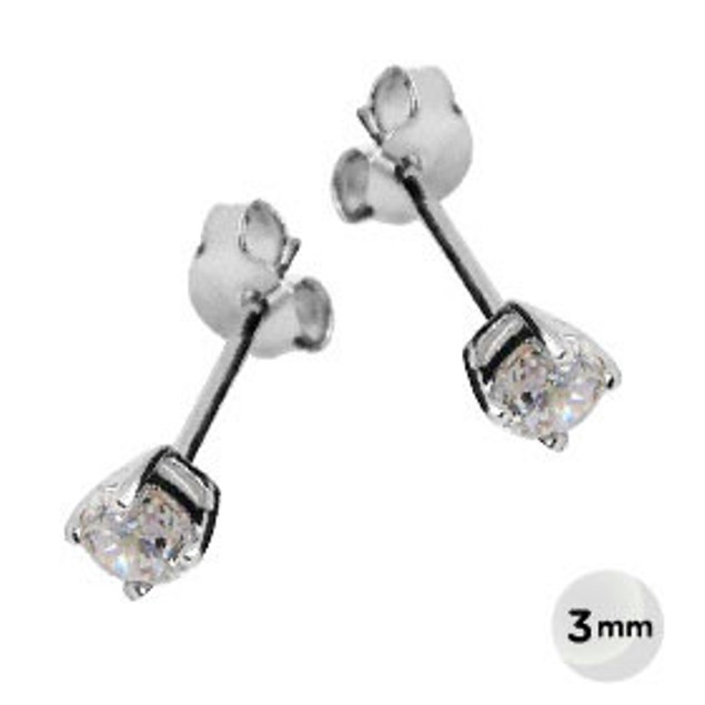 Sterling Silver 3mm Rounded Cubic Zirconia Stud Earrings