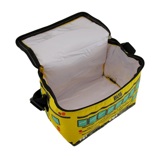 Bright Yellow School Bus Insulated Vinyl Lunch Bag Coolers