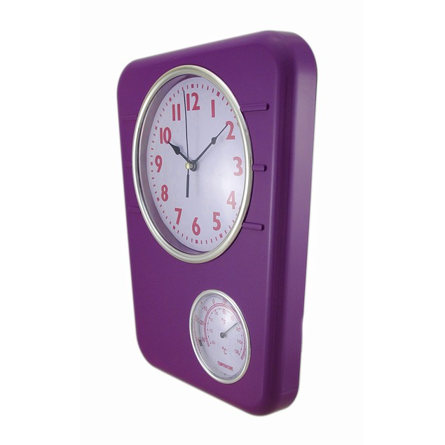 Bright Purple Wall Clock With Temperature Display Outdoor Clocks