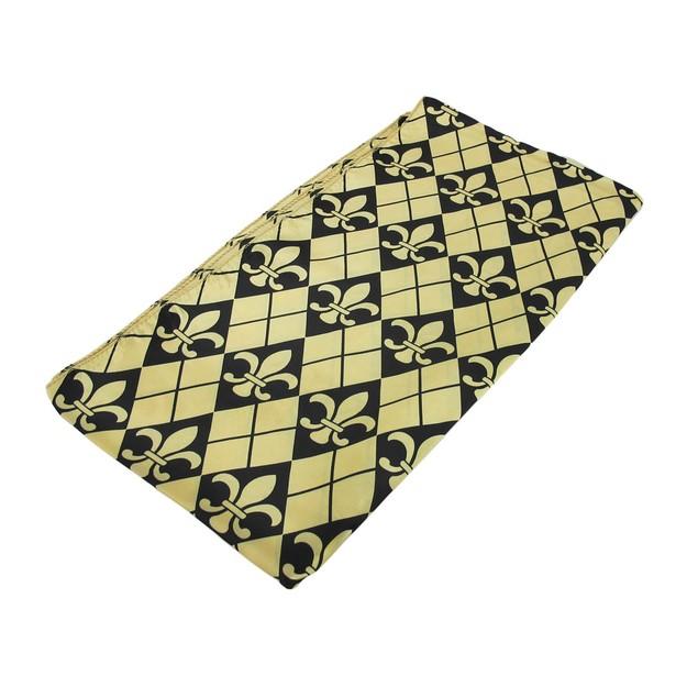 Black And Gold Fleur De Lis Satin Scarf Argyle Womens Fashion Scarves