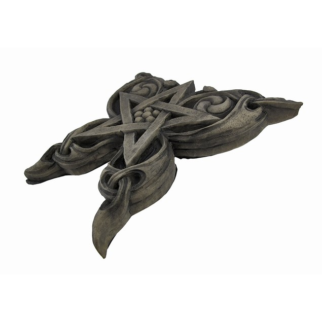 Stone Finish Butterfly Pentacle Wall Plaque Pagan Decorative Plaques