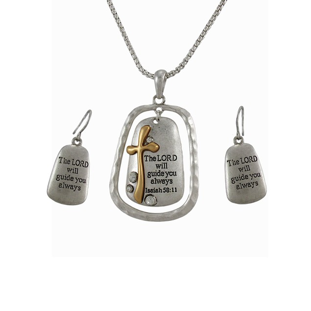 Bible Verse Isaiah 58:11 Necklace And Dangle Womens Earring And Necklace