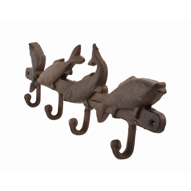 Cast Iron Fish Wall Hooks Rust Color 4 Hooks Hat Hooks