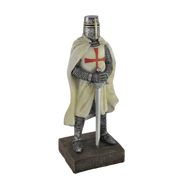 Medieval Templar Knight In Battle Holding Sword Statues