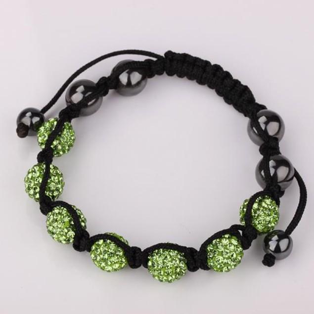 80's Glam Six Beads Austrian Crystal Bracelet - Bright Emerald