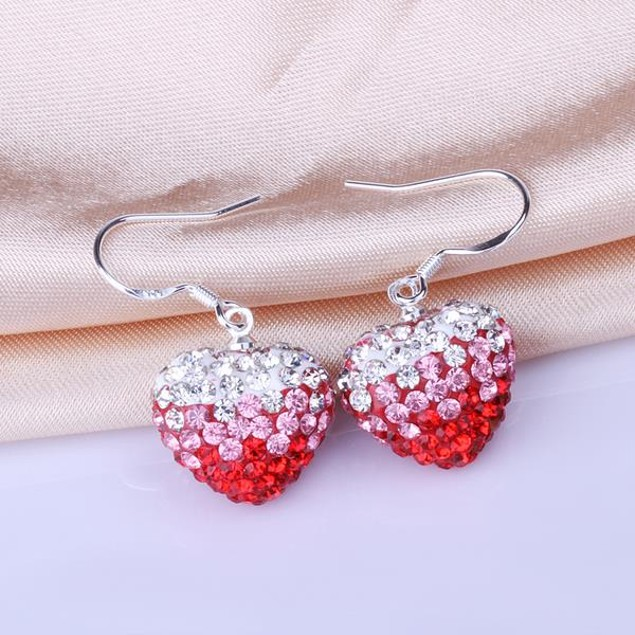 Heart Shaped Austrian Stone Drop Earrings -Dark Red