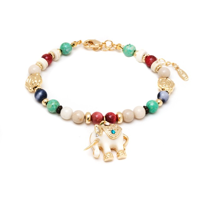 Gold & Colorful Crystals Elephant Bracelet