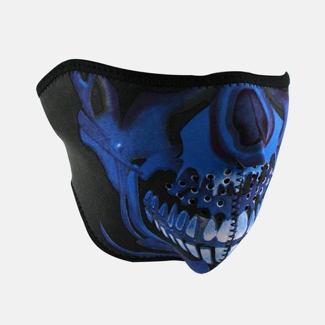 Neoprene 1/2 Face Mask - Blue Chrome Skull