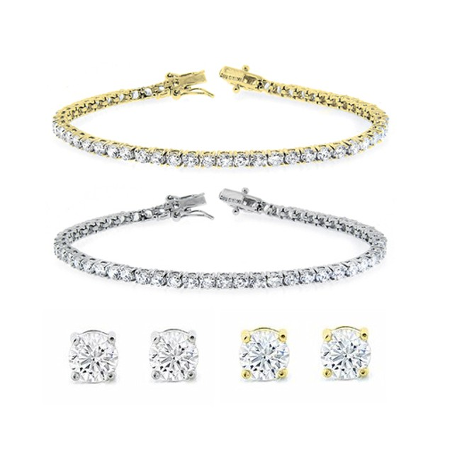 Solitaire Stud Earrings and Tennis Bracelet Set