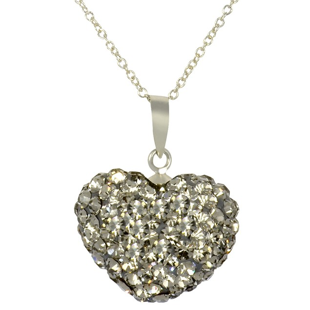 Sterling Silver Gray Crystal Heart Pendant