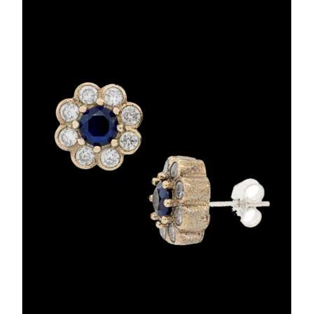 Ottanic Earings With Cz Stones Crafted From .925 Sterling Silver-Blue