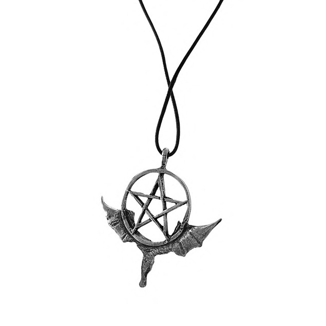 Antique Silver Finished Pentacle Of The Dragon Mens Pendant Necklaces