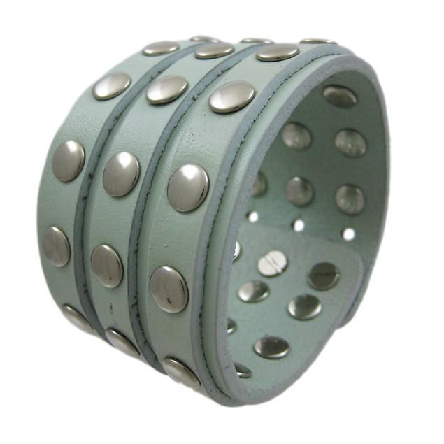 Gray Leather 3 Row Metal Studs Wristband Wrist Mens Leather Bracelets