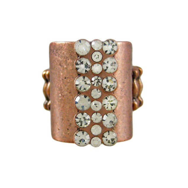 Copper Finish Clear Rhinestone Stretch Ring Womens Rings