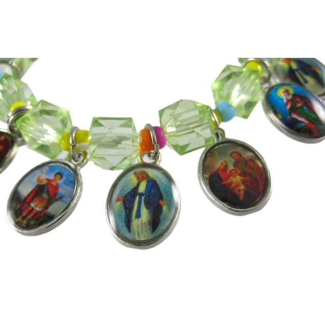Green Stretch Bracelet W/ Dangling Religious Womens Stretch Bracelets