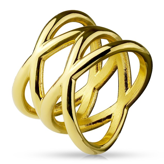 Double X Gold Tone  Stainless Steel Ring
