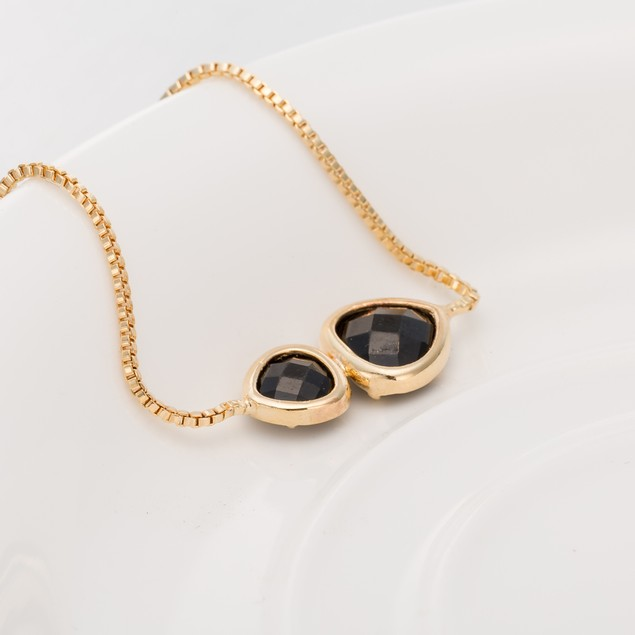 Gold Plated Duo Onyx Gem Bracelet