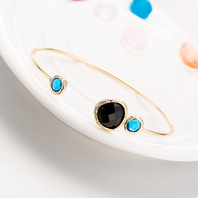 Gold Plated Petite Turquoise & Onyx Open Ended Bangle