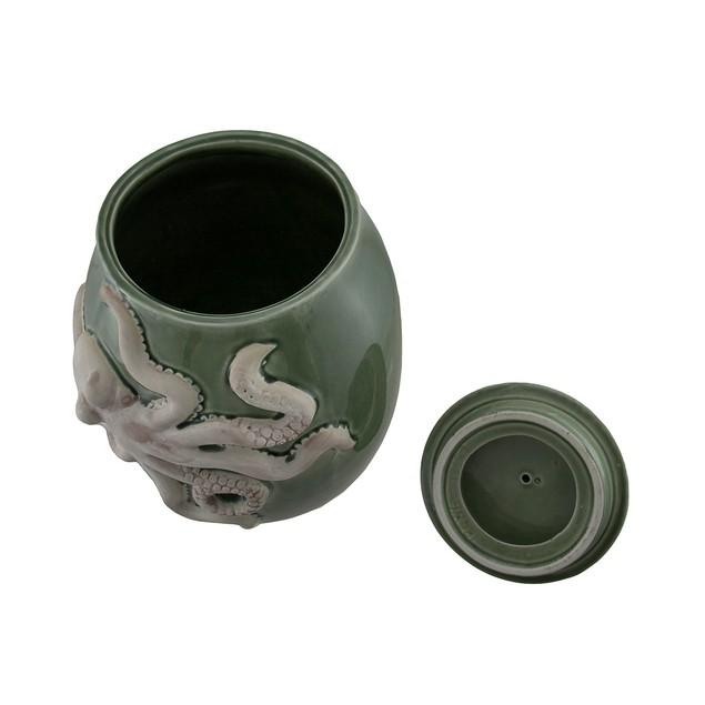Green Ceramic Octopus Jar W/Coral Lid Cookie Jars