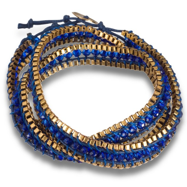 Blue Crystal & Gold Tone Box Chain Wrap Bracelet