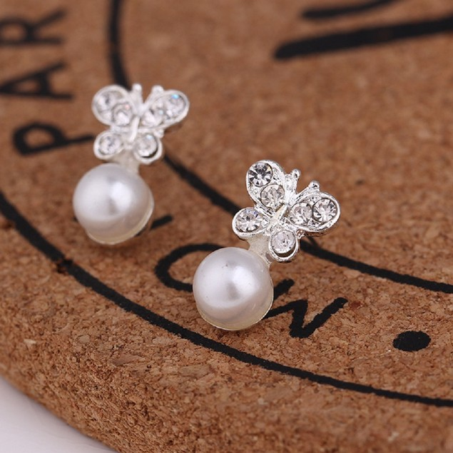 Silver Tone Butterfly and pearl Shaped Earrings
