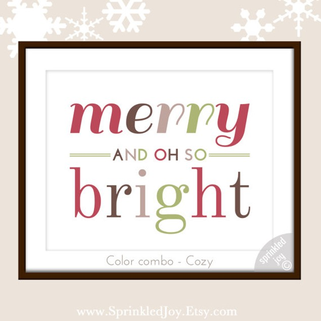 "Merry and Oh So Bright Christmas Print, 8""x10"" - 4 Styles"