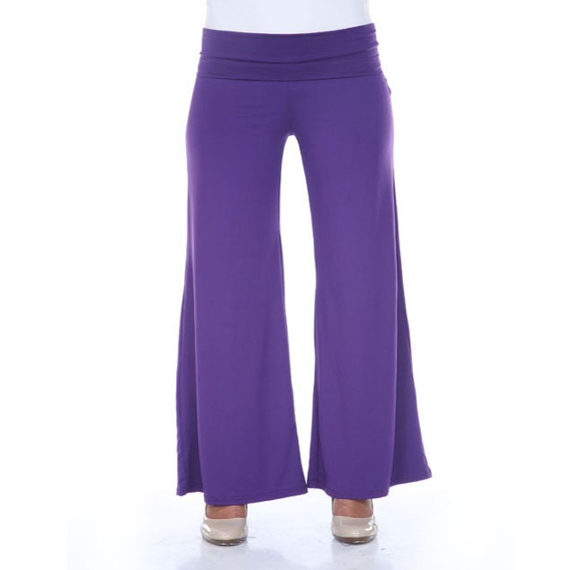 White Mark Purple Plus Size Palazzo Pants