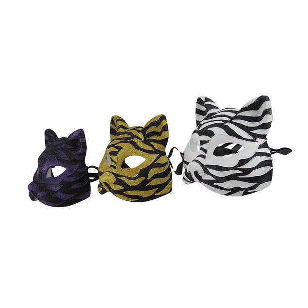 Set Of 3 Sparkling Animal Stripe Gotto Carnivale Mens Costume Masks