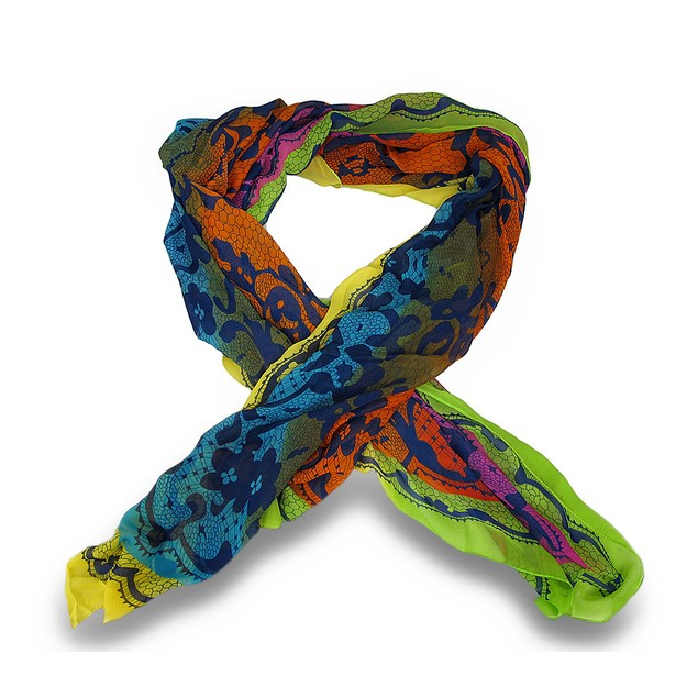 Colorful Abstract Print Lightweight Sheer Fashion Womens Fashion Scarves