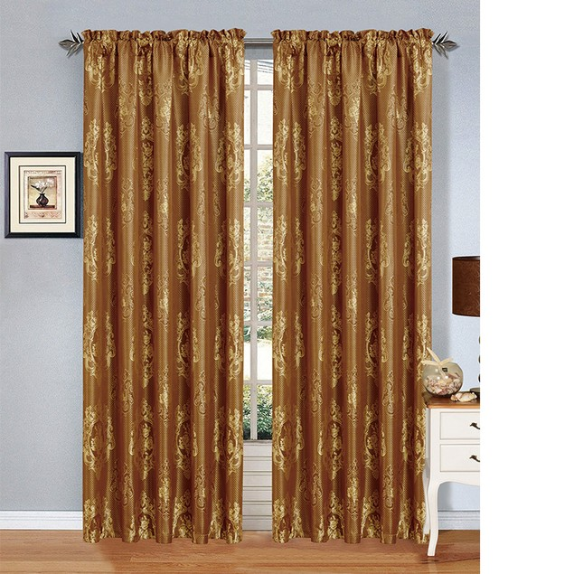 2 Pack:  Jacquard Design Curtain Panels