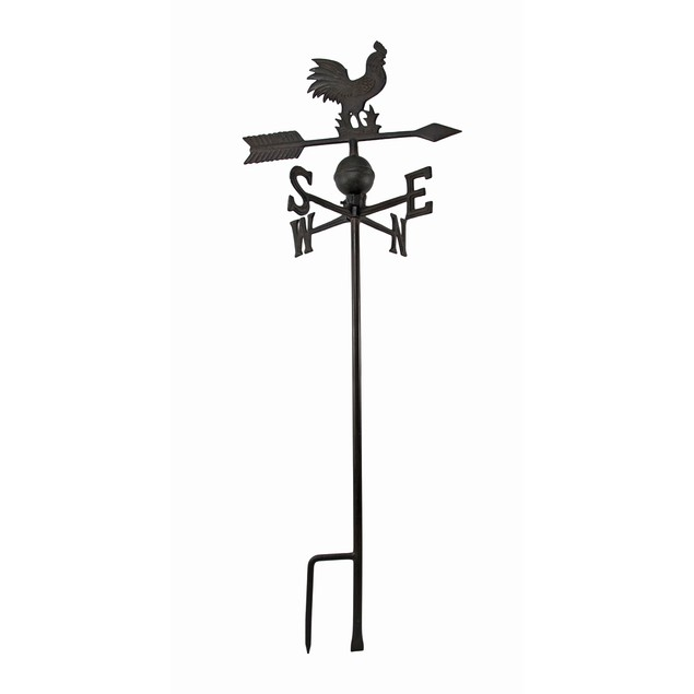 Antiqued Finish Cast Iron Rooster Weathervane Garden Stakes