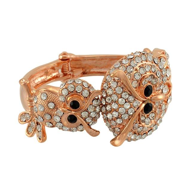 Rose Gold/Copper Double Owl Rhinestone Hinged Womens Bangle Bracelets