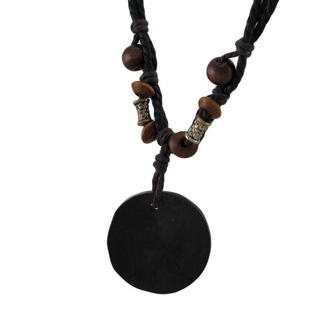 Hand Etched Om Symbol Coconut Shell Pendant & Mens Pendant Necklaces