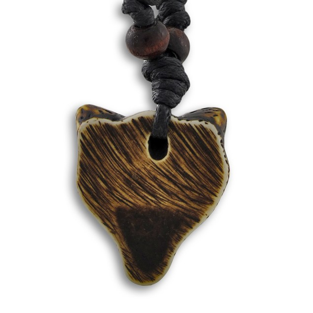 Brown Carved Wolverine Pendant With Adjustable Mens Pendant Necklaces