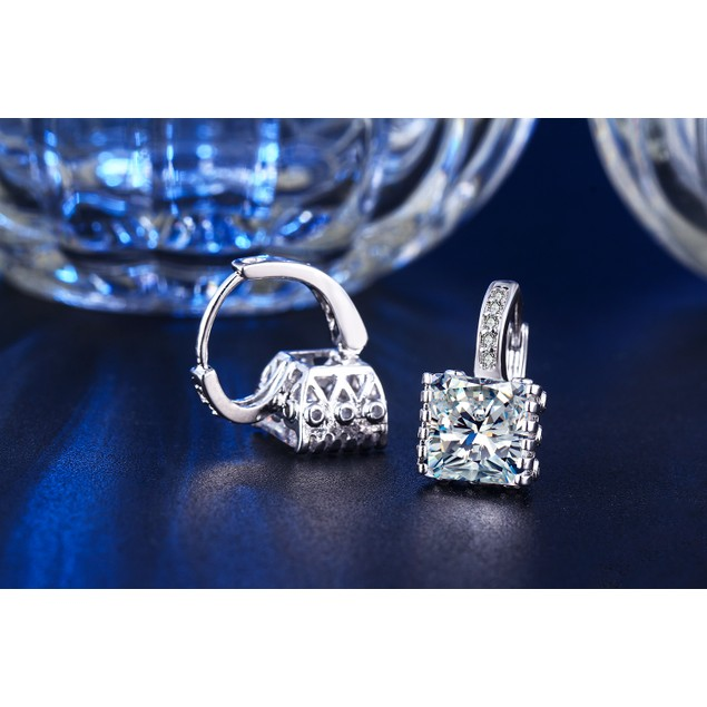 White Gold Plated Cubic Zirconia Princess-Cut Huggie Earrings