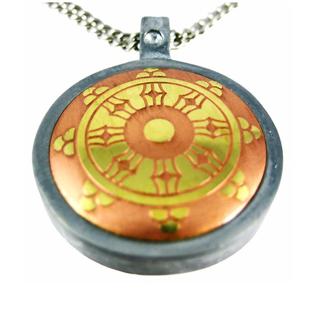 The Dharma Wheel Brass & Steel Pendant / Necklace Mens Pendant Necklaces