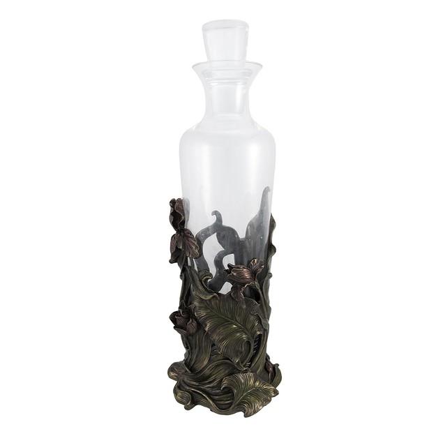 Bronzed Finish Iris Flowers Glass Wine Decanter Liquor Decanters